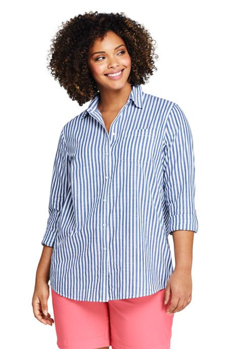 Women's Plus Size Boyfriend Fit Cotton Tunic Top