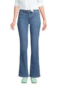 Women's Petite Mid Rise Bootcut Blue Jeans