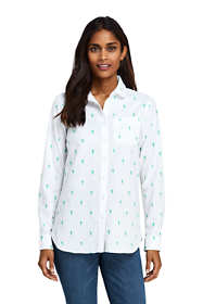 Women's Petite Peter Pan Collar Boyfriend Fit Embroidered Tunic