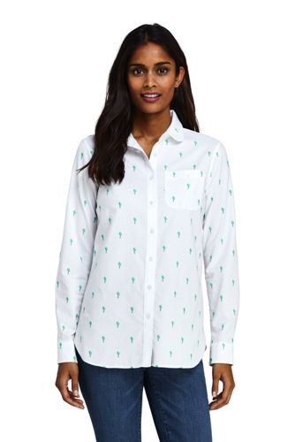 Chemise Oxford Stretch Brodée Col Claudine, Femme Stature Standard
