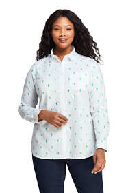 Women's Plus Size Peter Pan Collar Boyfriend Fit Embroidered Tunic