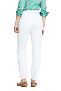 Women's Tall Mid Rise Curvy Straight Leg White Jeans, Back