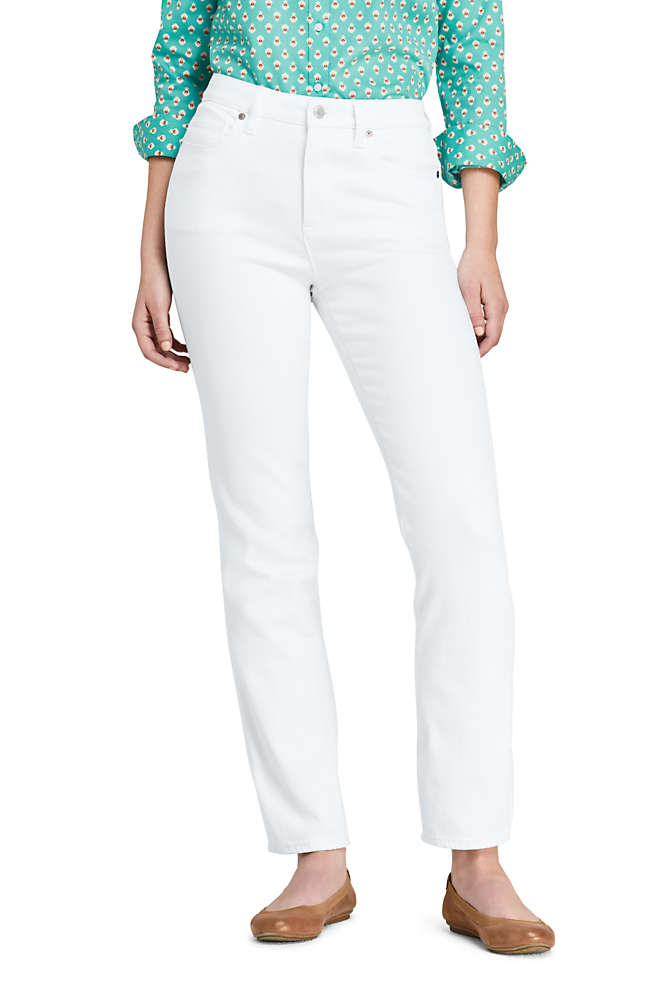 Women's Petite Mid Rise Curvy Straight Leg White Jeans, Front