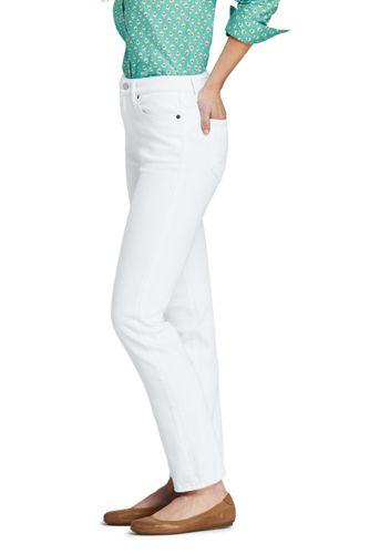 Women's Tall Mid Rise Curvy Straight Leg White Jeans