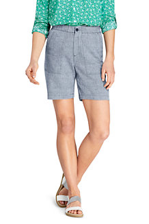 Women's Elasticated Waist Indigo Linen Blend Shorts