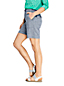 Short Taille Haute en Lin Mélangé Indigo, Femme Stature Standard