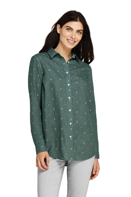 Women's Double Cloth Boyfriend Fit Cotton Tunic Top