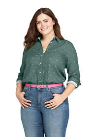 Women's Plus Size Double Cloth Boyfriend Fit Cotton Tunic Top