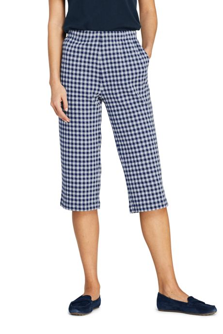 Women's Petite Sport Knit High Rise Jacquard Capri Pants