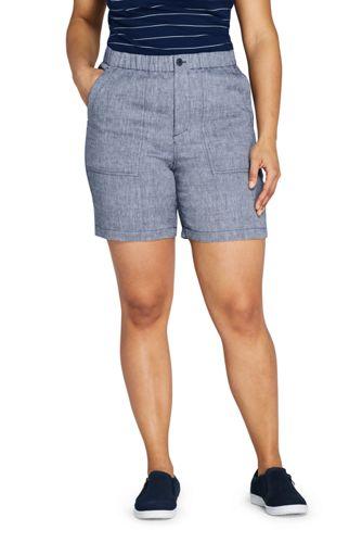 Short Taille Haute en Lin Mélangé Indigo, Femme Grande Taille