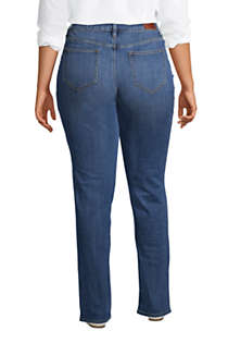 Women's Plus Size Mid Rise Straight Leg Blue Jeans, Back