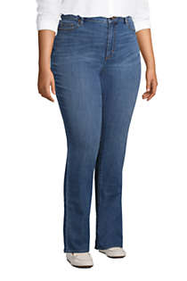 Women's Plus Size Mid Rise Straight Leg Blue Jeans, alternative image
