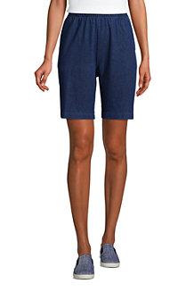 Short Sport Knit Aspect Denim Taille Haute, Femme