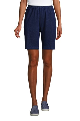 Short Sport Knit Aspect Denim Taille Haute, Femme Stature Standard