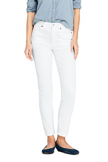 Women's High Waisted Slim Straight Ankle White Jeans