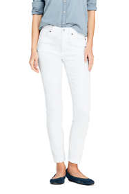 Women's High Rise Slim Straight Leg White Ankle Jeans