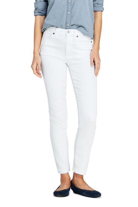 Women's Tall High Rise Slim Straight Leg White Ankle Jeans