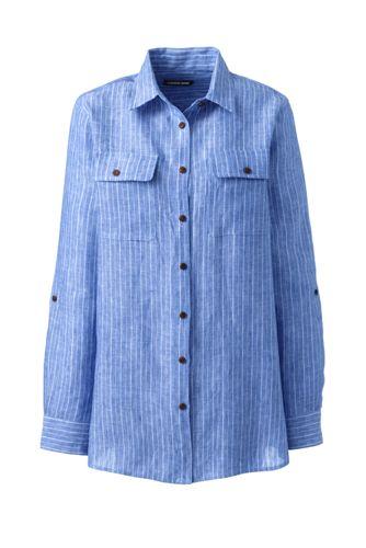Women's Petite Pure Linen Roll Sleeve Utility Shirt