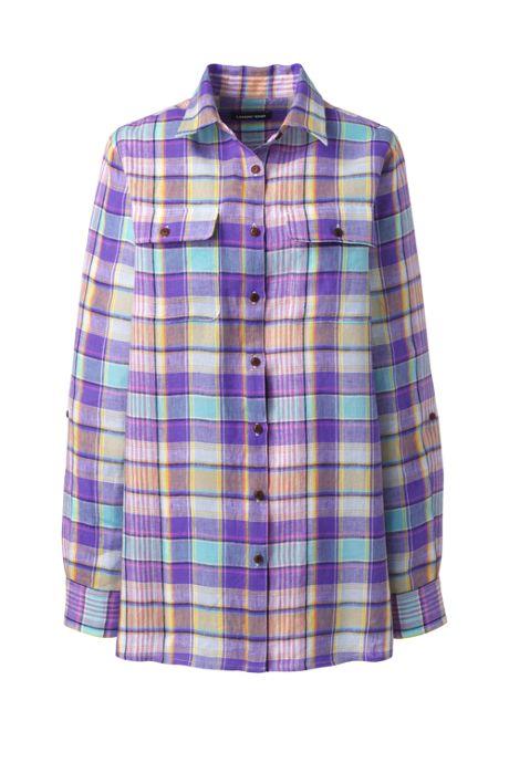 Women's Plus Size Linen Button Front Utility Tunic Top