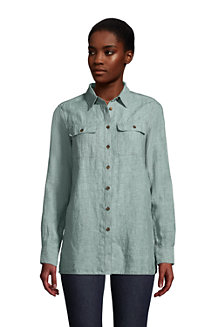 Women's Pure Linen Roll Sleeve Utility Shirt