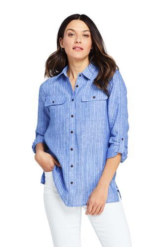 Women's Petite Pure Linen Roll Sleeve Utility Shirt