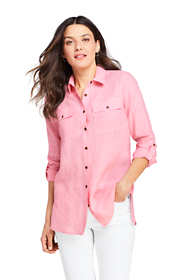 Women's Tall Linen Button Front Utility Tunic Top