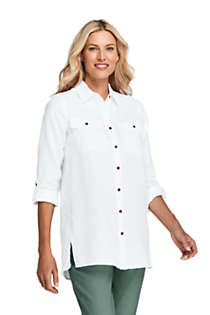 Women's Tall Linen Button Front Utility Tunic Top, Front
