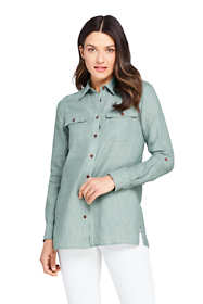 Women's Petite Linen Button Front Utility Tunic Top