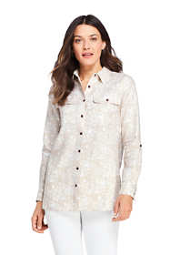 Women's Linen Button Front Utility Tunic Top