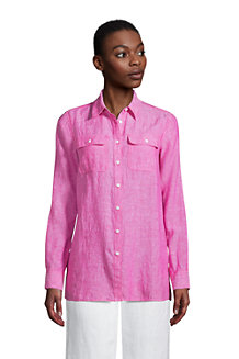 Women's Pure Linen Roll Sleeve Utility Shirt