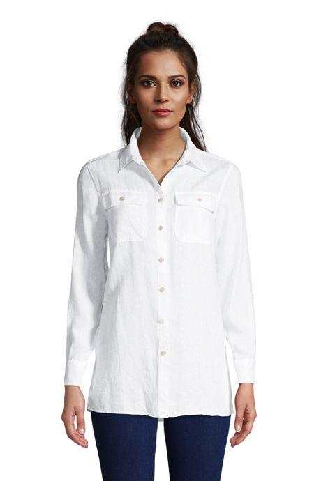 Women's Tall Linen Button Front Utility Tunic Top