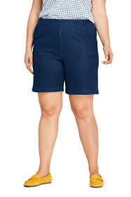Women's Plus Size Sport Knit Denim Shorts