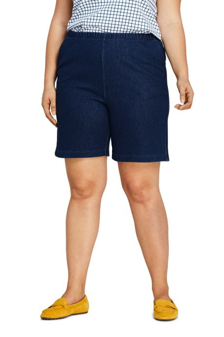 Women's Plus Size High Rise Sport Knit Elastic Waist Denim Jean Shorts