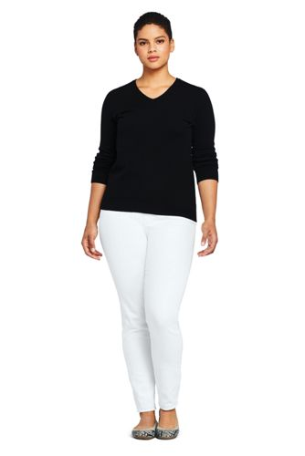 Women's Plus Size High Rise Pull On Skinny White Jeans