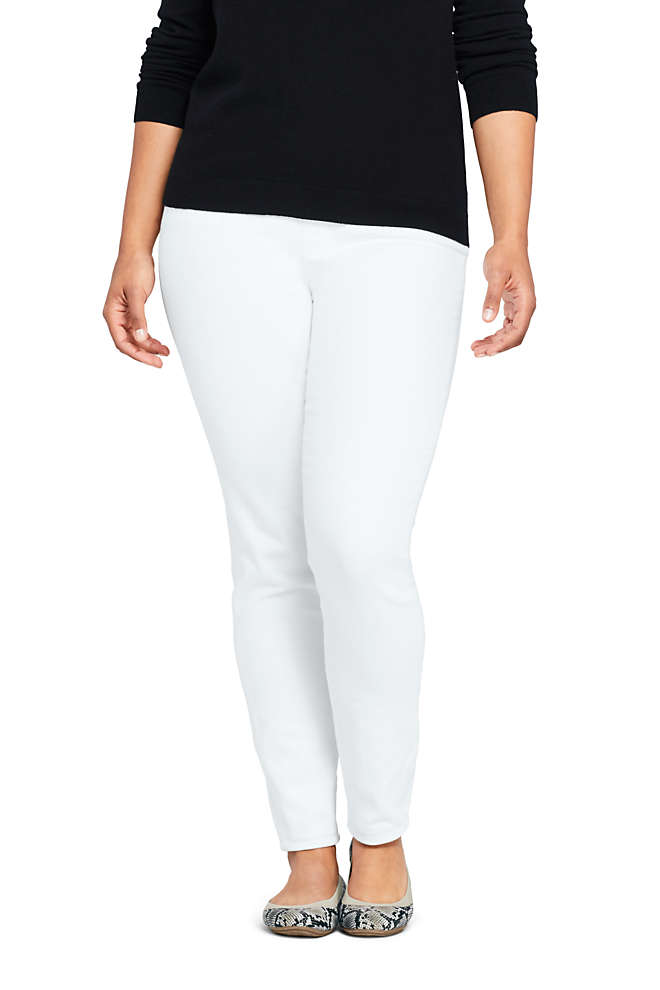 Women's Plus Size High Rise Pull On Skinny White Jeans, Front