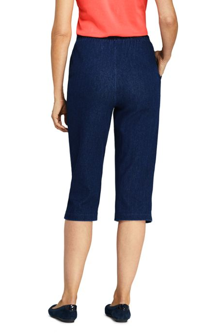 Women's High Rise Sport Knit Elastic Waist Denim Capri Pants