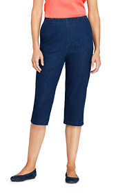 Women's Tall High Rise Sport Knit Elastic Waist Denim Capri Pants