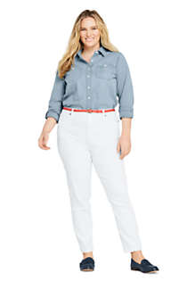 Women's Plus Size High Rise Slim Straight Leg White Ankle Jeans, Unknown
