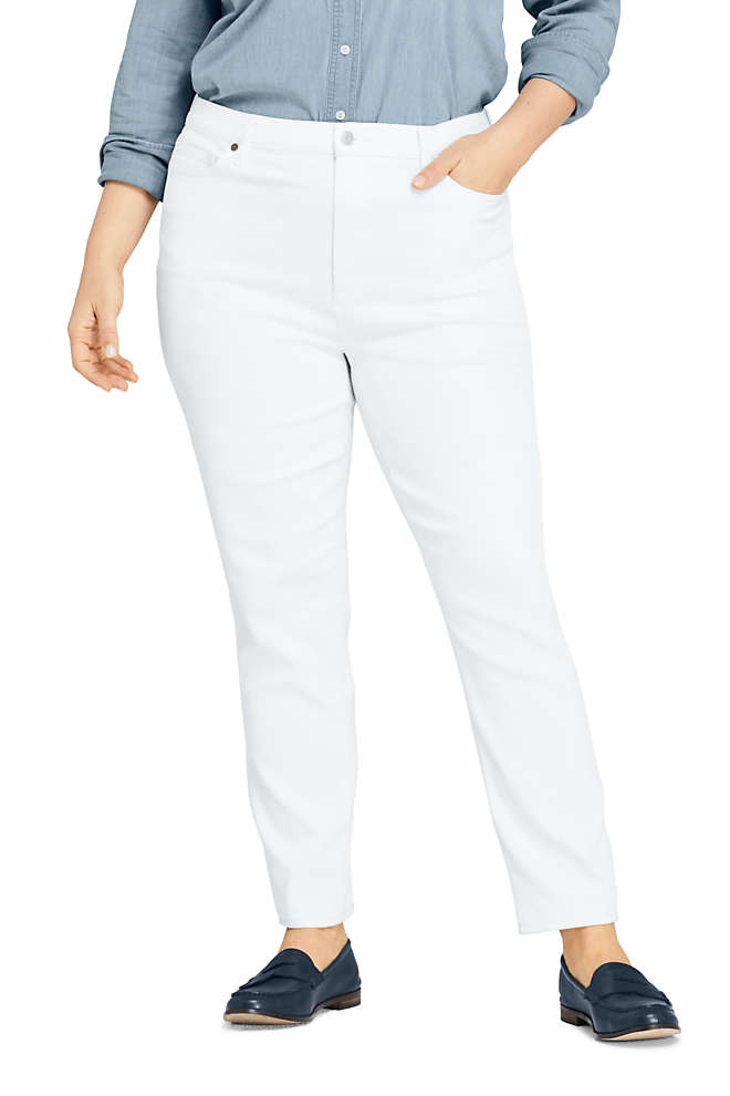 Women's Plus Size High Rise Slim Straight Leg White Ankle Jeans, Front