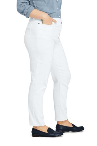 Women's Plus Size High Rise Slim Straight Leg White Ankle Jeans