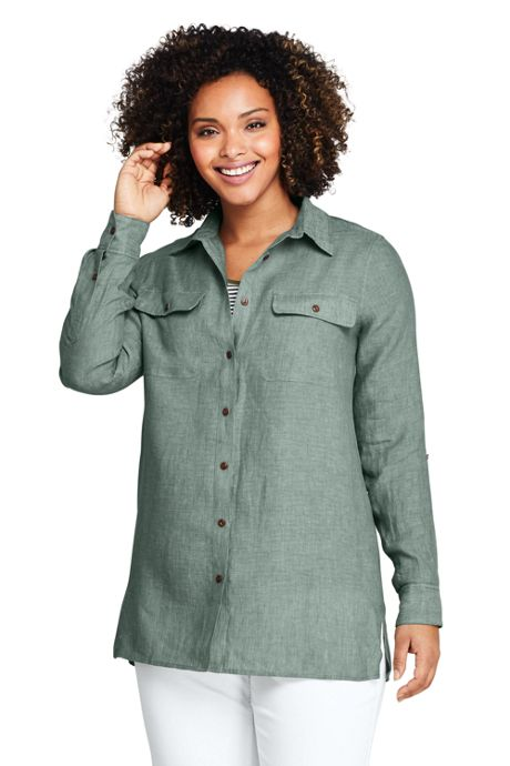 Women's Plus Size Linen Button Front Utility Tunic Top