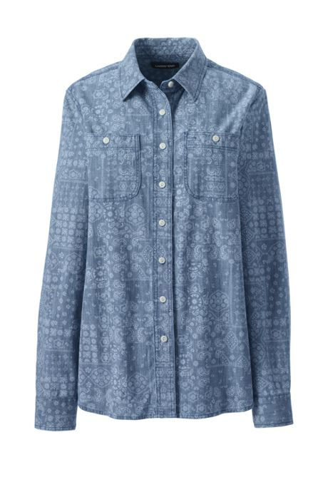 Women's Plus Size Chambray Shirt