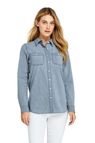 Oxford Chambray-Bluse für Damen in Plus-Größe