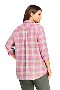Women's Plus Size Double Cloth Boyfriend Fit Cotton Tunic Top, Back
