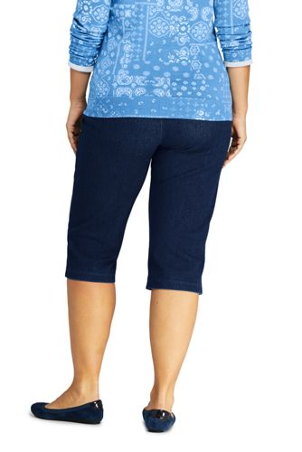 Women's Plus Size High Rise Sport Knit Elastic Waist Denim Capri Pants