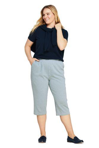 Women's Plus Size Sport Knit High Rise Jacquard Capri Pants
