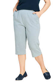 Women's Plus Size Sport Knit Jacquard Capri Pants