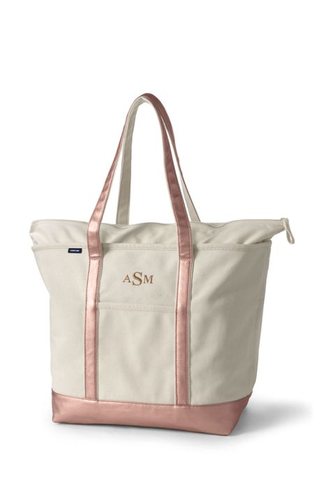 Extra Large Natural Rose Gold Zip Top Long Handle Canvas Tote Bag