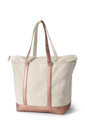 Extra Large Natural Metallic Zip Top Long Handle Canvas Tote Bag