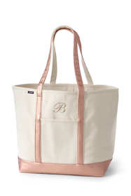 Extra Large Natural Rose Gold Open Top Long Handle Canvas Tote